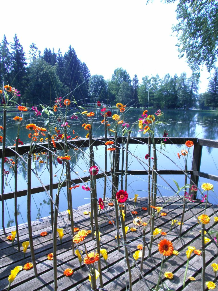 Flower terrace at lake