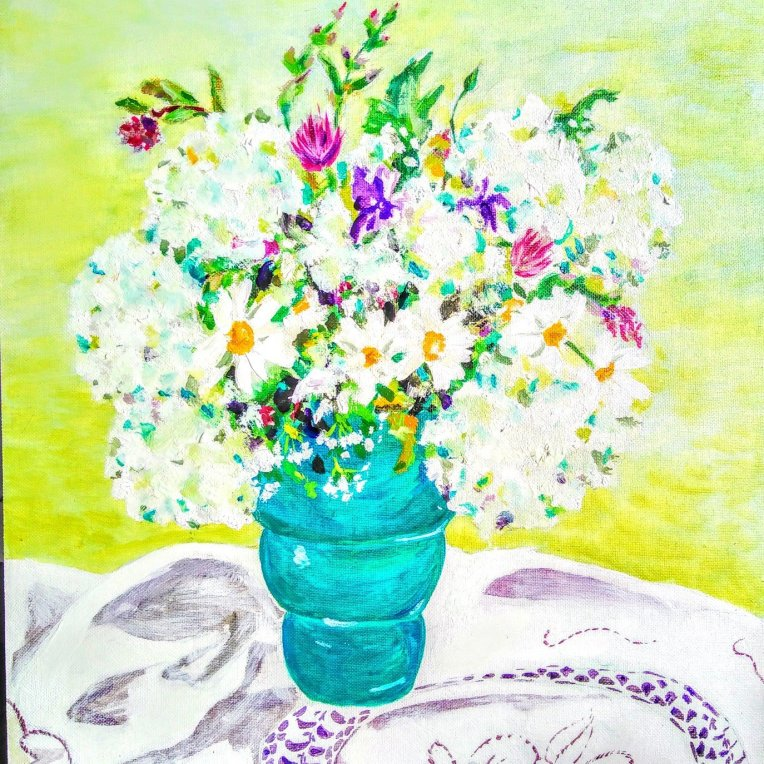 Tamara Jare Bouquet with daisies contemporary oil painting available