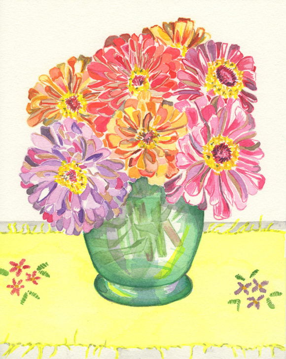 Zinnia bouquet Tamara Jare contemporary painting