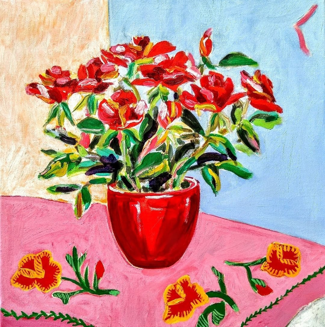 Tamara Jare contemporary painting Red roses