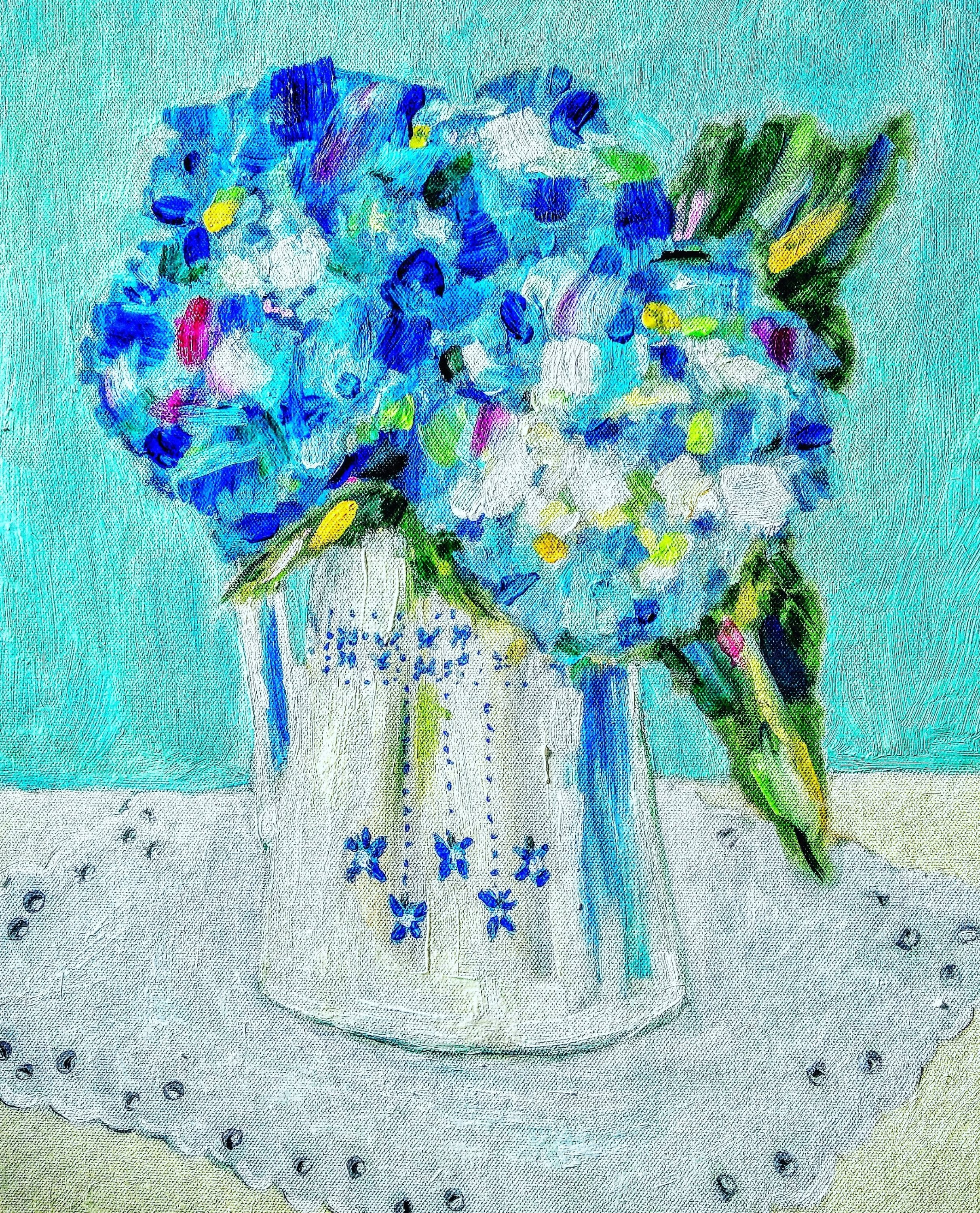 Tamara Jare contemporary oil painting Blue hydrangea