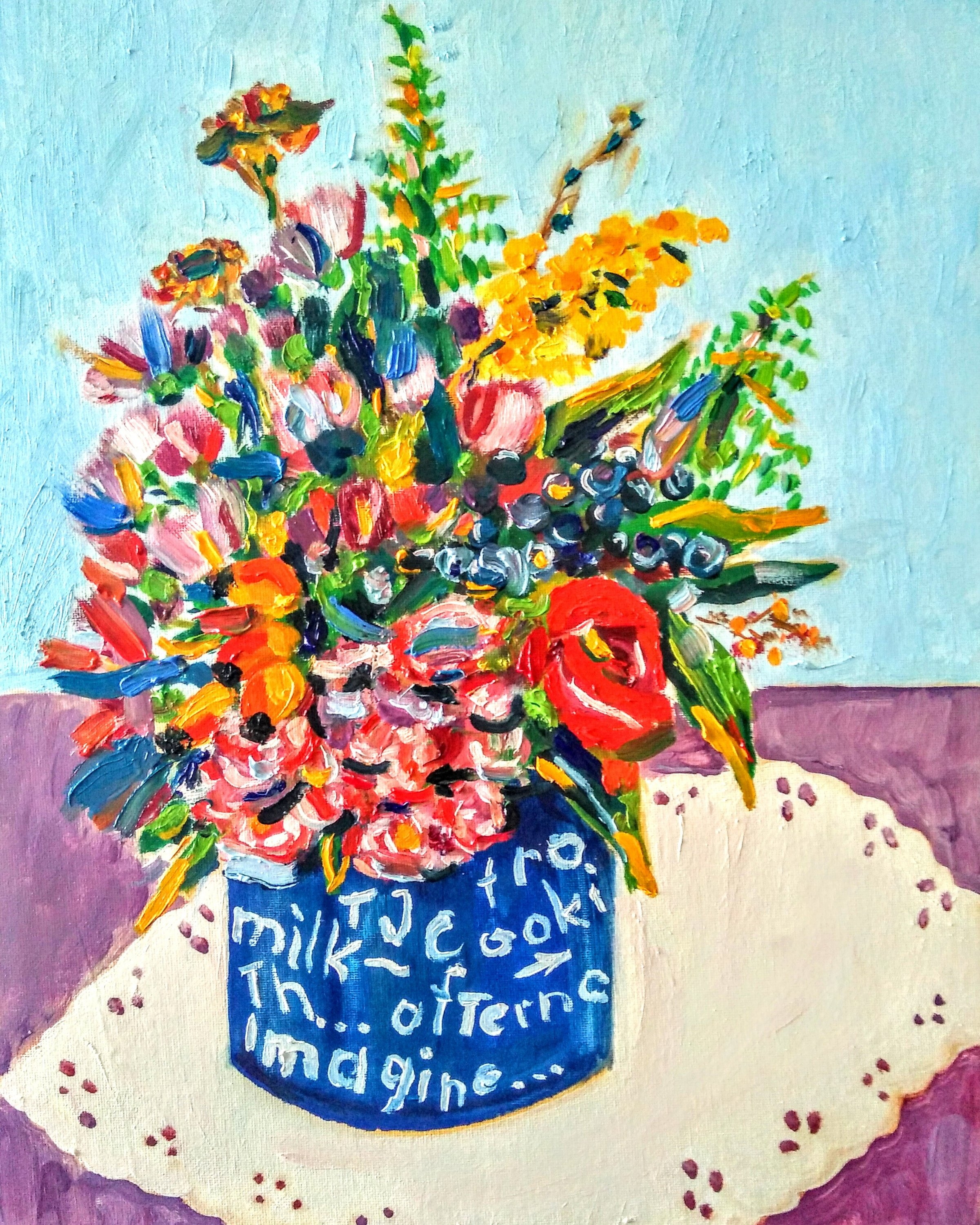 Tamara Jare contemporary painting August bouquet