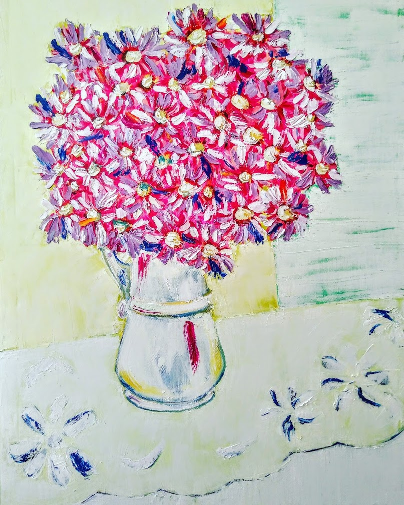 Pink asters bouquet Tamara Jare contemporary painting