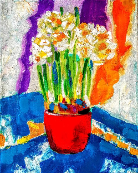 Tamara Jare contemporary painting White daffodils