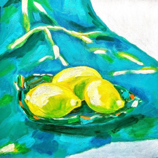 Three lemons on leaf like green plate set on turquoise drapery Tamara Jare contemporary still life painting oil on canvas figurative painting wall art