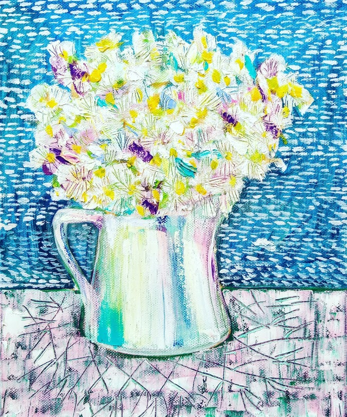 White flowers in a mug Tamara Jare painting contemporary still life