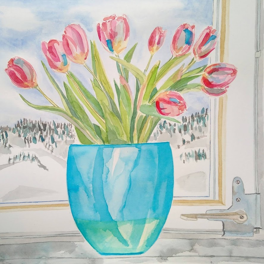 Tamara Jare pink tulips in blue vase on window shelf watercolor painting contemporary still life