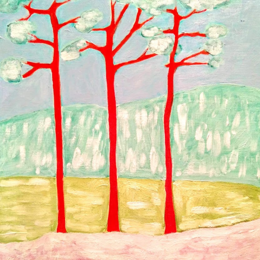 Happy 2020 Red pine trees under snow in winter forest Tamara Jare figurative abstract oil painting