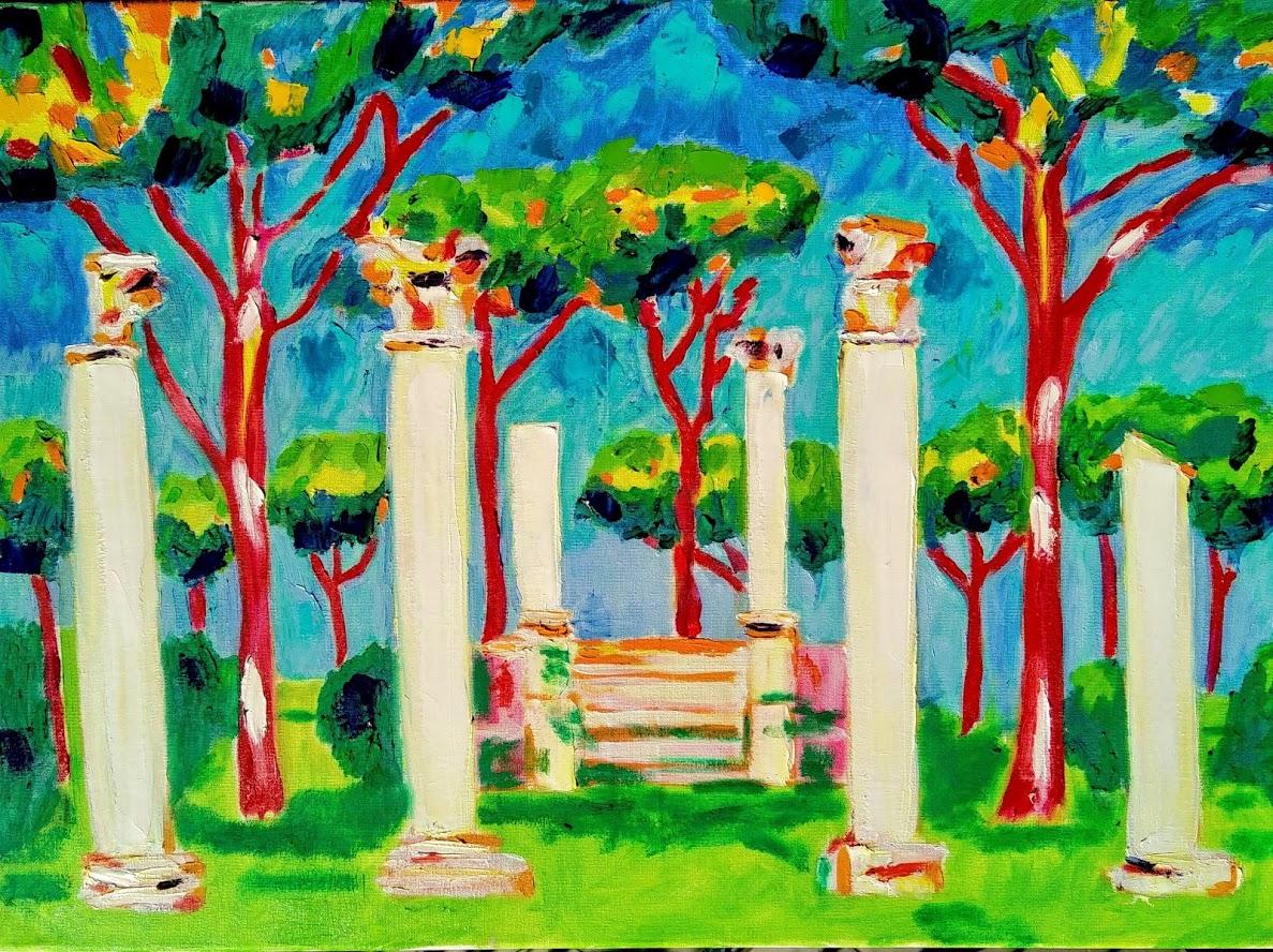 pine trees in ostia antica tamara jare painting landscape